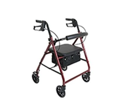 """Picture of ProBasics Aluminum Rollator with Padded Seat and 6"""" Wheels, Burgundy"""